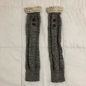 Boot socks. Gray/cream and brown buttons
